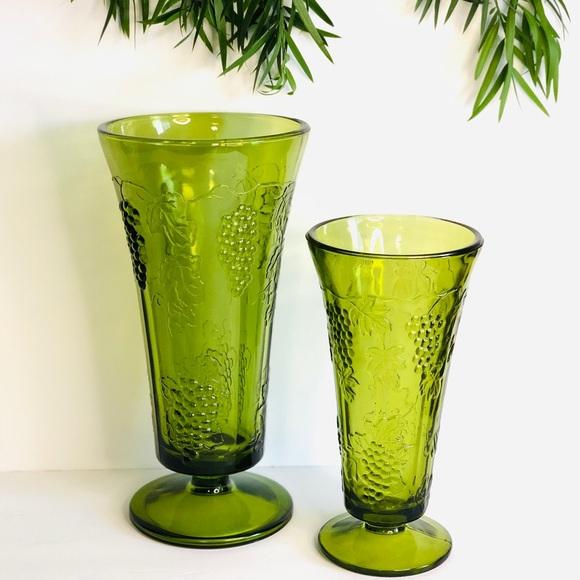 Vintage Green Grape Vases
